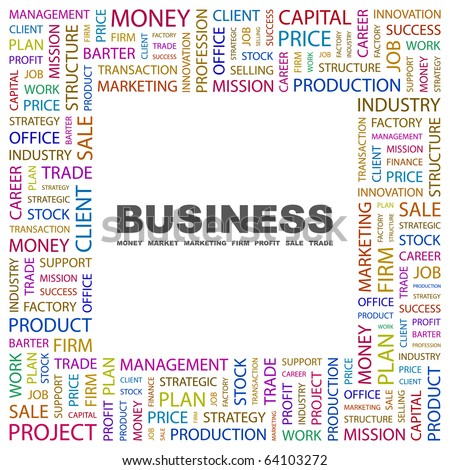 BUSINESS. Word collage on white background. Illustration with different association terms.
