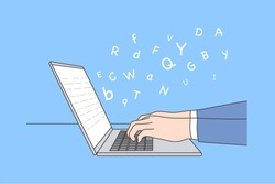 Business, work, education, report, storytelling concept. Human character editor author writer hands typing text narration using laptop. Grammar language learning remotely or sending email illustration
