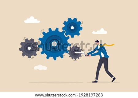 Business work flow, leadership to drive team and initiate productivity and efficiency working process concept, smart businessman manager use all his power and skill to rotate group of cogwheels gear. Foto stock ©