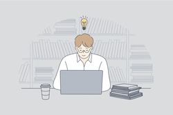 Business, work, success, thought, problem, business, freelance concept. Young businessman guy student freelancer studying in library on laptop having idea. Goal achievement and intelligence knowledge.