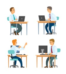 Business workers at desktops with laptops vector. Office clerks in shirts and ties, typing on computer keyboard, manager or secretary isolated characters