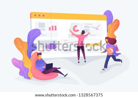 Business workflow, business process efficiency, working activity pattern concept. Vector isolated concept illustration. 3D liquid design with floral elements.