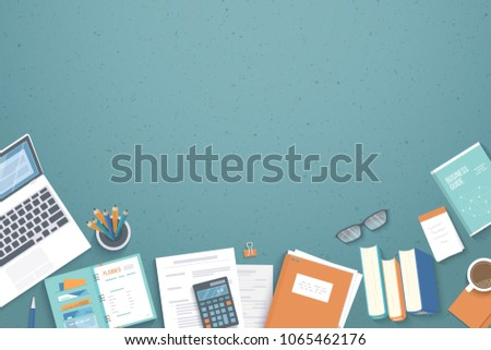 Top View Table and Notes Vector Design - Download Free