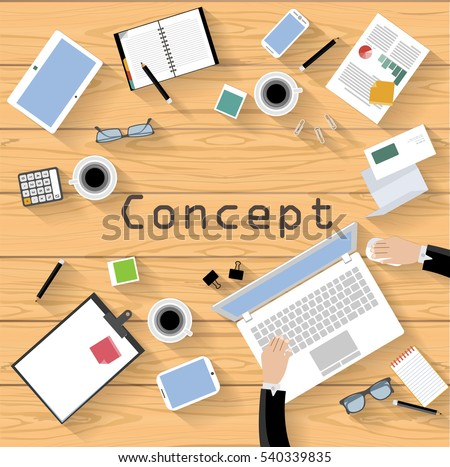 Business workplace Top view modern Idea and Concept Vector illustration with Text Concept  ,Wooden floor,work Accessories,icon.