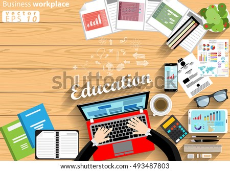 Business workplace Top view modern Idea and Concept Vector illustration with work Accessories