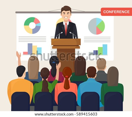 Business workshop, training, lecture. Businessman in suit and tie making presentation, explaining charts, graphics on a white board. People at the conference hall. Vector illustration. Flat style