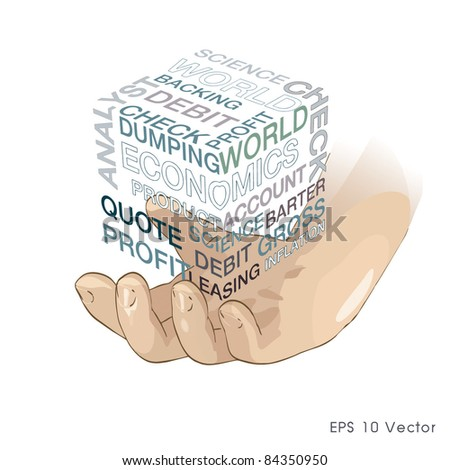 Business world in hand. Realistic vector eps 10.