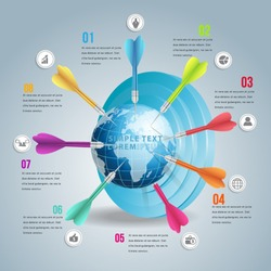 Business world target market infographic with colors dart. Can used for workflow and  banner layer.