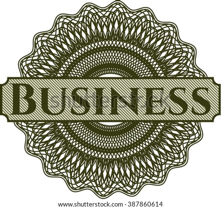 Business written inside rosette