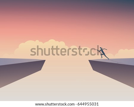 Businessman about to jump over gap between two cliffs. Symbol of business risk, courage, determination, motivation, ambition. Eps10 vector illustration.