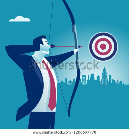 Businessman aiming the target. Concept business vector illustration.
