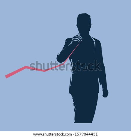 Businessman analyzing data, vector silhouette, flat design illustration