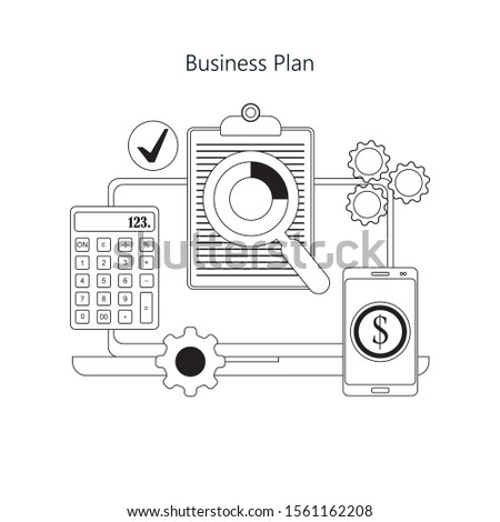 Businessman analyzing financial document using magnifying glass top view. Paper sheet, finance account.