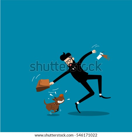 Businessman and biting dog vector.