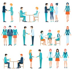 Businessman and business woman isolated On White Background, Team Working In Office, shake hand, Business people conceptual Vector Illustration.
