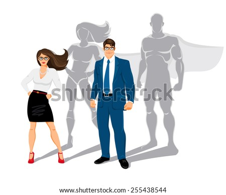 Businessman and business woman office superheroes. superman and confidence, people and business, power and shadow. Vector illustration