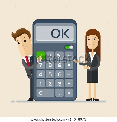 Businessman and business woman with calculator. Profit, finances concept. Vector, flat illustration