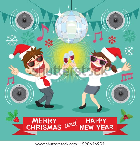 Businessman and businesswoman celebrates Christmas and New Year, illustration vector cartoon