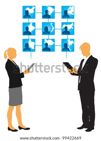 businessman and businesswoman connecting with the world - vector illustration
