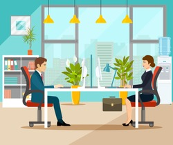 Businessman and businesswoman  in office. Vector flat style illustration