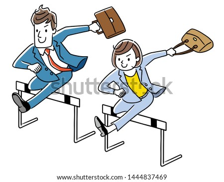 Businessman and businesswoman jumping over hurdle
