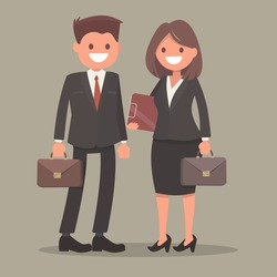 Businessman and businesswoman.Office workers. A man and a woman at work.