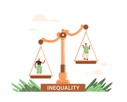 businessman and businesswoman on scales business corporate inequality concept gender male vs female unequal opportunities full length vector illustration