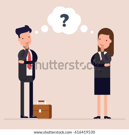 Businessman and businesswoman or managers thinks. Question mark in speech bubble. Concept of the thought process. Flat characte in cartoon style
