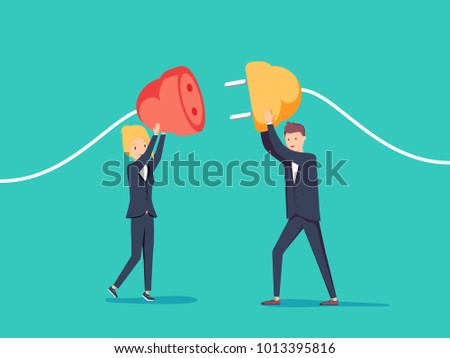 Businessman and businesswoman pull plugs towards each other. Business connection concept. Vector, illustration, flat. People holding unplugged cable. Funny cartoon workers repairs business.
