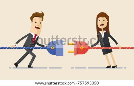 Businessman and businesswoman pull plugs towards each other. Business connection concept. Vector, illustration, flat.