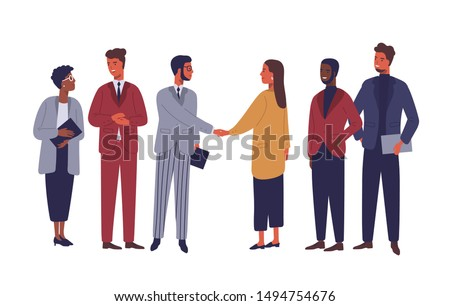 Businessman and businesswoman shaking hands flat vector characters. International partnership isolated clipart. Successful negotiations, agreement cartoon illustration. Business partners meeting.