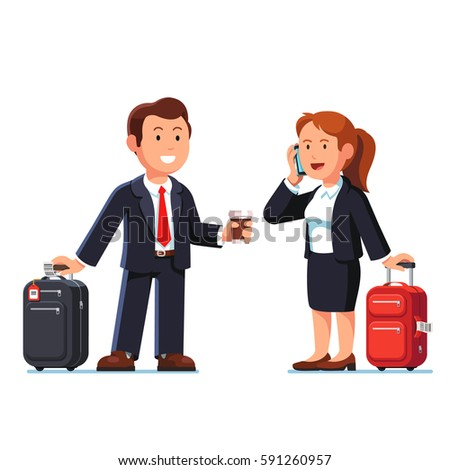 Businessman and businesswoman taking standing with their luggage bags. Going on business trip together, waiting for a transport or plane. Flat style modern vector isolated illustration.