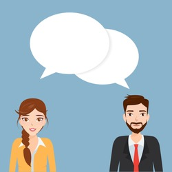 Businessman and businesswoman talking on bubble speech. People character.