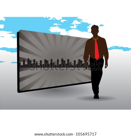businessman and city frame - stock vector