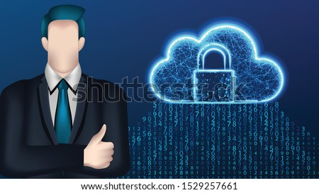 businessman, and cloud storage security . Business concept. Vector Illustration on dark blue background
