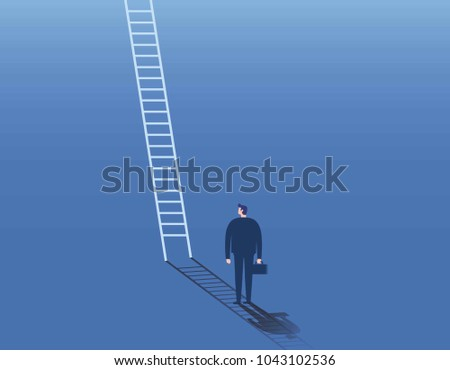 Businessman and corporate ladder  symbol business concept of career development, growth, opportunity. Vector illustration Eps10 flat cartoon design banner