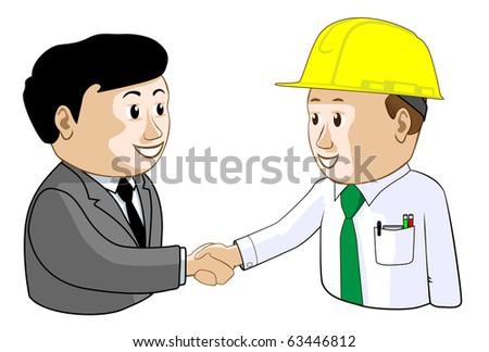Businessman and Engineer Agree Illustration : Shutterstock