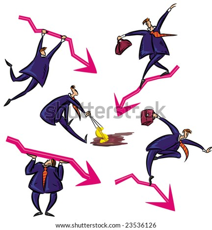 Businessman and financial crisis. Vector Illustration