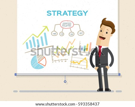 Businessman and graphs on projector screen. Presentation concept, seminar, training, conference. Business  strategy and finance. Flat Vector Illustration