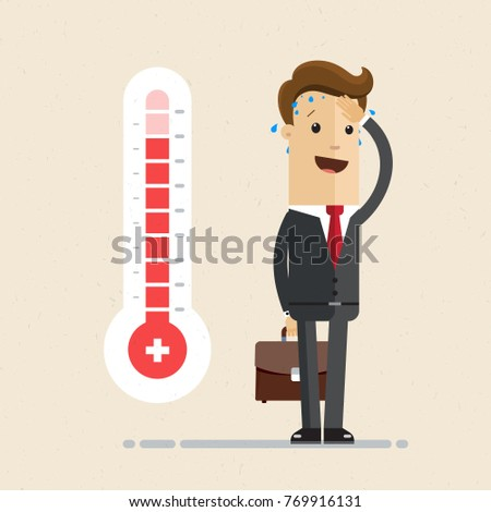 Businessman  and hot thermometer. Concept of hot time. Vector flat illustration