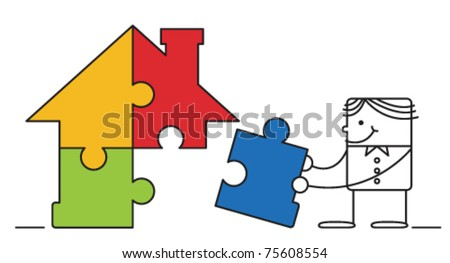 businessman and jigsaw house puzzle
