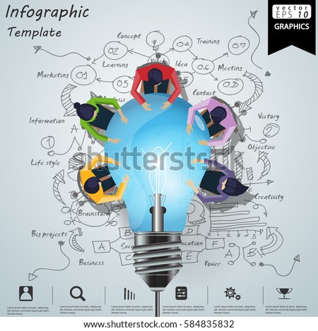 Businessman and Lady Brainstorm Brainstorm Success, modern Idea and Concept Vector illustration Infographic template with lamp,Lined pattern,graph,arrow, icon.