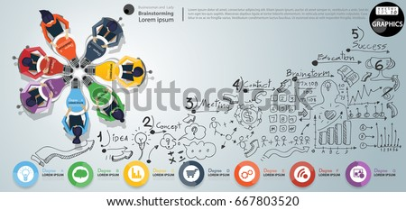 Businessman and Lady Brainstorm Brainstorm Success, modern Idea and Concept Vector illustration Infographic template with Lined pattern,graph,arrow, icon,Light bulbs 7 color.