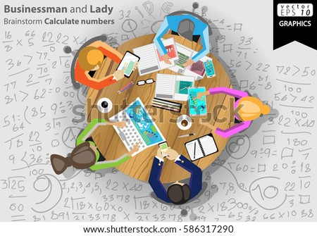 Businessman and Lady Brainstorm Calculate numbers modern design Idea and Concept Vector illustration  with Icon,Papers, coffee cups, laptop, mobile, tablet,people.
