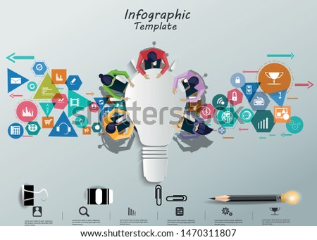 Businessman and Lady Brainstorm  for Success with lamp, icon Business, Creativity modern Idea and Concept illustration  Infographic template.