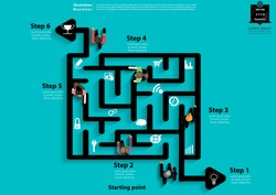 Businessman and  Lady walk in  Maze Find the exit  Success -  modern Idea and Concept Vector illustration Business Infographic template with Icon.