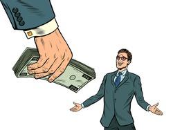Businessman and money. Financial bonus. Lottery or winnings. pop art retro vector illustration kitsch vintage drawing 50s 60s style