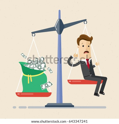 Businessman and scales. Businessman balance work and money on a scales. Man in suit  and bag with money  are on the scales. And money shift the balance on scale.  Vector, illustration, flat