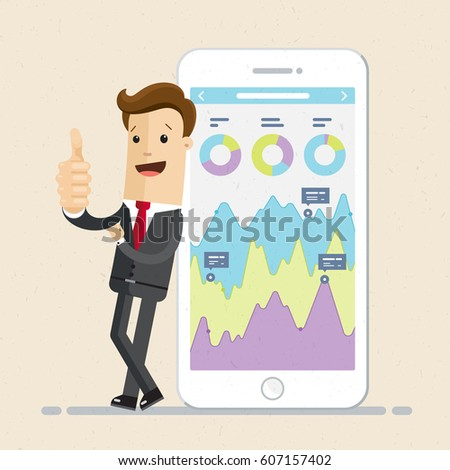 Businessman and smartphone with infographic on the screen. Businessman show thumb up. Vector, flat
