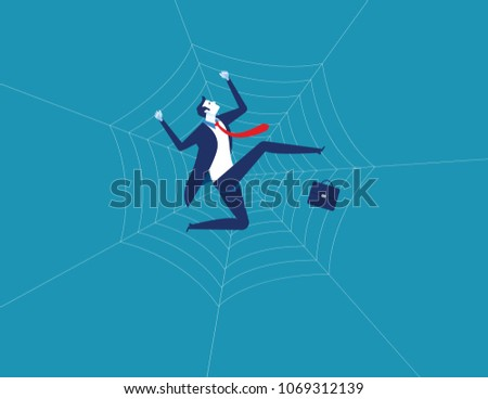 businessman and spider web